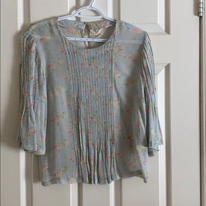 Sheer rayon flower blouse